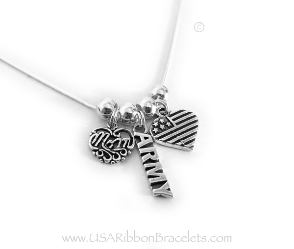 "Army Mom necklace comes with a Army charm, a MOM charm and a USA Heart Flag charm. Shown on a 18"" - .925 sterling silver SNAKE chain."